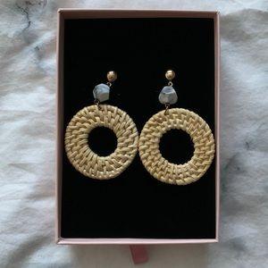 Rhoda Rattan Weave Stone Earrings